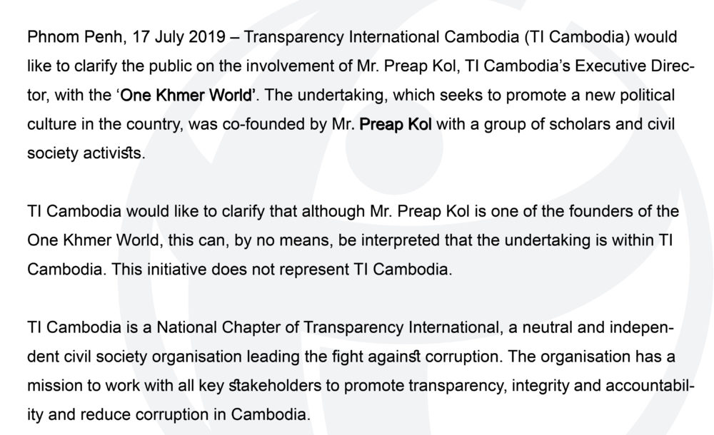 Transparency International Cambodia: Fighting Against Corruption